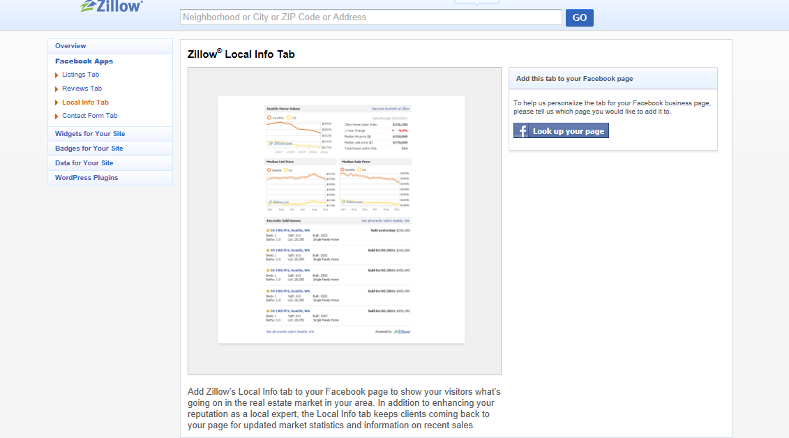 Adding market info or reviews to your real estate facebook for Http zillow com home details