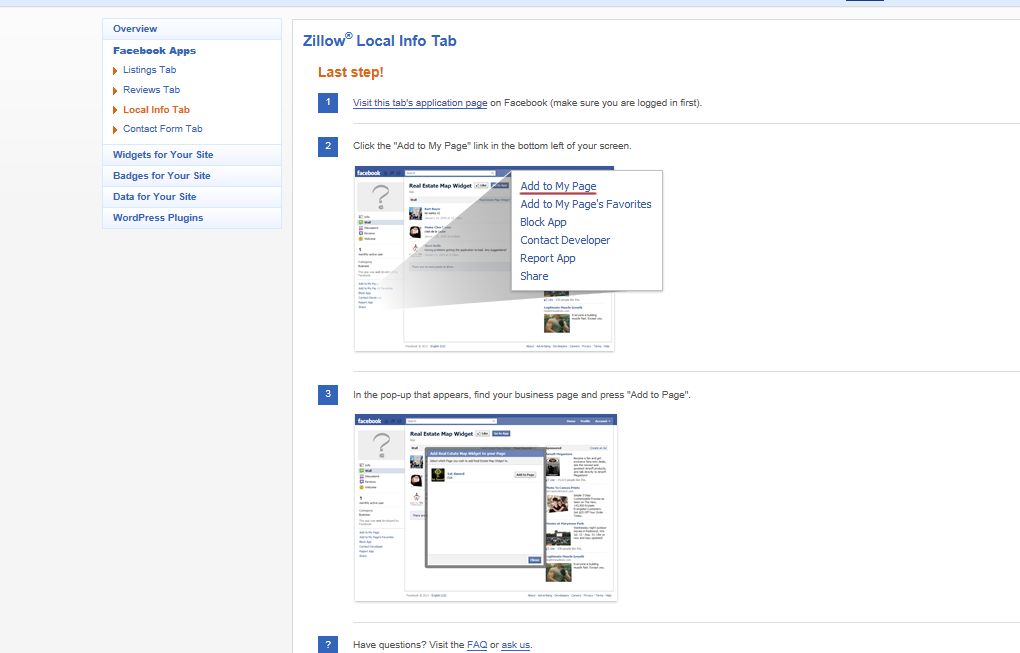 Adding market info or reviews to your real estate facebook for Zillow site
